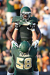 Baylor Bears running back Glasco Martin (8) and Baylor Bears offensive linesman Spencer Drango (58) in action during the game between the Wofford Terriers and the Baylor Bears at the Floyd Casey Stadium in Waco, Texas. Baylor leads Woffard 38 to 0 at halftime.