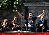Duesseldorf, Germany, 2. Bundesliga, promotion to 1. Bundesliga of  Fortuna Duesseldorf, team celebrates at Rathausmarkt of Duesseldorf, 14.05.2018<br /> Niko GIESSELMANN (F95) 2.v.-<br /> *** Local Caption *** © pixathlon<br /> Contact: +49-40-22 63 02 60 , info@pixathlon.de