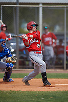 Canada Junior National Team Tyson Gomm (23) bats during an exhibition game against the Toronto Blue Jays on March 8, 2020 at Baseball City in St. Petersburg, Florida.  (Mike Janes/Four Seam Images)