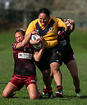 Atawhai Tupaea of Papakura tackles NOT LISTED ON TEAM SHEET>>> #10... Premier Women's Rugby League, Papakura Sisters v Manurewa Wahine, Prince Edward Park, Auckland, Sunday 13th August 2017. Photo: Simon Watts / www.phototek.nz
