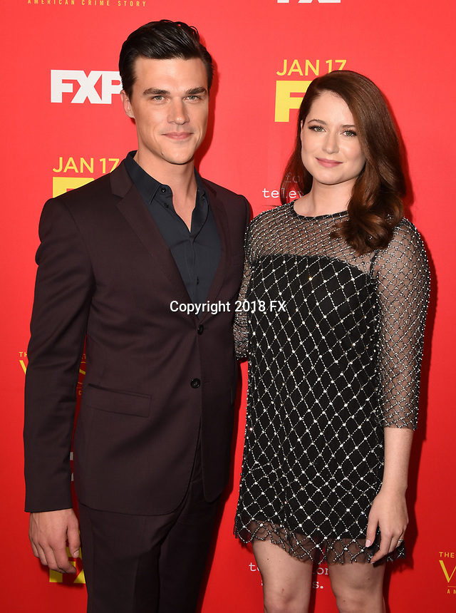 """HOLLYWOOD - JANUARY 8: (L-R) Finn Wittrock and Sarah Roberts attend the Red Carpet Premiere Event for FX's """"The Assassination of Gianni Versace: American Crime Story"""" at ArcLight Hollywood on January 8, 2018, in Hollywood, California. (Photo by Scott Kirkland/FX/PictureGroup)"""