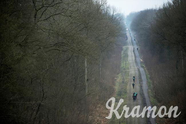 Paris-Roubaix 2013 RECON..birds view on Team Europcar training in the Trouée d'Arenberg