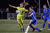 Lore Jacobs (17) of AA Gent and Kelsey Geraedts (17) of KRC Genk pictured during a female soccer game between  Racing Genk Ladies and AA Gent Ladies ,  on the 6 th  matchday of the 2021-2022 season of the Belgian Scooore Womens Super League , friday 8 october 2021  in Genk , Belgium . PHOTO SPORTPIX | JILL DELSAUX