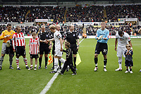 Pictured: Garry Monk of Swansea City shakes the officials hands <br /> Re: Coca Cola Championship, Swansea City Football Club v Southampton at the Liberty Stadium, Swansea, south Wales 25 October 2008.<br /> Picture by Dimitrios Legakis Photography, Swansea, 07815441513