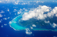 View of Raiatea from the air with clouds. French Polynesia