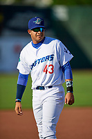 Daniel Padilla (43) of the Ogden Raptors before the game against the Orem Owlz in Pioneer League action at Lindquist Field on June 21, 2017 in Ogden, Utah. The Owlz defeated the Raptors 16-5. This was Opening Night at home for the Raptors.  (Stephen Smith/Four Seam Images)