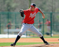 13 March 2009: LHP Edgar Osuna of the Atlanta Braves pitches during an intra-squad game at Spring Training camp at Disney's Wide World of Sports in Lake Buena Vista, Fla. Photo by:  Tom Priddy/Four Seam Images
