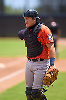 Houston Astros catcher Tyler Krabbe (89) during a Minor League Spring Training game against the Washington Nationals on April 27, 2021 at FITTEAM Ballpark of the Palm Beaches in Palm Beach, Fla.  (Mike Janes/Four Seam Images)