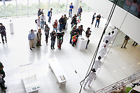 Visitors tour the new Media Lab building E14 during the MIT Under the Dome open house in Cambridge, Massachusetts, USA.