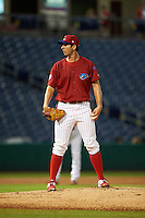 Clearwater Threshers pitcher Matt Imhof (48) looks in for the sign during the first game of a doubleheader against the Jupiter Hammerheads on July 25, 2015 at Bright House Field in Clearwater, Florida.  Clearwater defeated Jupiter 2-1.  (Mike Janes/Four Seam Images)