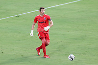 CARY, NC - AUGUST 01: Alex Tambakis #1 plays the ball during a game between Birmingham Legion FC and North Carolina FC at Sahlen's Stadium at WakeMed Soccer Park on August 01, 2020 in Cary, North Carolina.