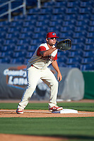 Clearwater Threshers first baseman Kyle Martin (27) waits for a throw during a game against the Dunedin Blue Jays on April 8, 2016 at Bright House Field in Clearwater, Florida.  Dunedin defeated Clearwater 8-3.  (Mike Janes/Four Seam Images)