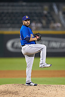 Durham Bulls relief pitcher Vidal Nuno III (24) in action against the Charlotte Knights at BB&T BallPark on July 31, 2019 in Charlotte, North Carolina. The Knights defeated the Bulls 9-6. (Brian Westerholt/Four Seam Images)