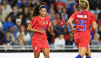 Saint Paul, MN - SEPTEMBER 03: Christen Press #23 of the United States celebrates during their 2019 Victory Tour match versus Portugal at Allianz Field, on September 03, 2019 in Saint Paul, Minnesota.