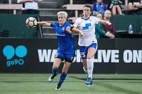 Seattle, WA - Saturday July 15, 2017: Megan Rapinoe, Morgan Andrews during a regular season National Women's Soccer League (NWSL) match between the Seattle Reign FC and the Boston Breakers at Memorial Stadium.