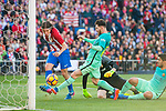 Filipe Luis (l) of Atletico de Madrid saves a goal attempt by Lionel Andres Messi (r) of FC Barcelona during their La Liga match between Atletico de Madrid and FC Barcelona at the Santiago Bernabeu Stadium on 26 February 2017 in Madrid, Spain. Photo by Diego Gonzalez Souto / Power Sport Images