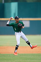 Justin Javier Colon Jaime (1) of Montverde Academy in Clermont, FL during the Perfect Game National Showcase at Hoover Metropolitan Stadium on June 18, 2020 in Hoover, Alabama. (Mike Janes/Four Seam Images)