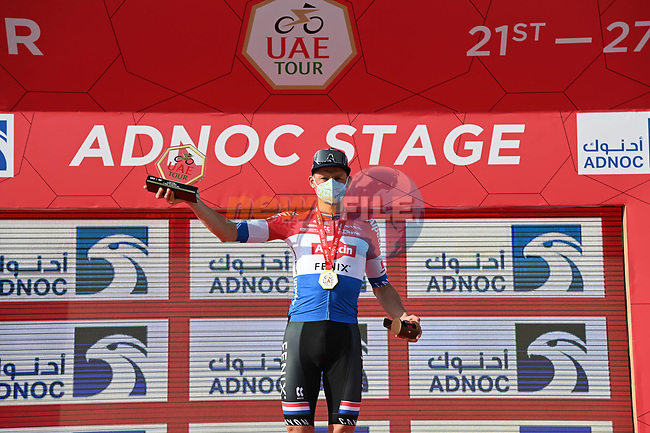 Mathieu van der Poel (NED) Alpecin-Fenix wins Stage 1 of the 2021 UAE Tour the ADNOC Stage running 176km from Al Dhafra Castle to Al Mirfa, Abu Dhabi, UAE. 21st February 2021.  <br /> Picture: LaPresse/Gian Mattia D'Alberto | Cyclefile<br /> <br /> All photos usage must carry mandatory copyright credit (© Cyclefile | LaPresse/Gian Mattia D'Alberto)