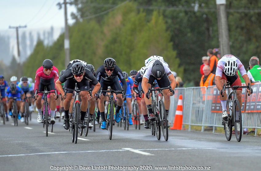 Campbell Stewart of New Zealand/New Zealand National Team (left) wins stage two of the NZ Cycle Classic UCI Oceania Tour (Gladstone circuit) in Wairarapa, New Zealand on Thursday, 16 January 2020. Photo: Dave Lintott / lintottphoto.co.nz