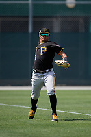 Pittsburgh Pirates Daniel Rivero (15) during a minor league Spring Training game against the Philadelphia Phillies on March 13, 2019 at Pirate City in Bradenton, Florida.  (Mike Janes/Four Seam Images)