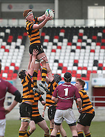 CAI vs RBAI | Tuesday 3rd March 2015<br /> <br /> Garrett Bell secures this lineout during the 2015 Ulster Schools Cup Semi-Final between Coleraine Inst and RBAI at the Kingspan Stadium, Ravenhill Park, Belfast, Northern Ireland.<br /> <br /> Picture credit: John Dickson / DICKSONDIGITAL