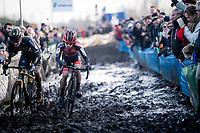 strong racing by Eli Iserbyt (BEL/Pauwels Sauzen-Bingoal) holding off Corne Van Kessel (NED/Telenet Baloise Lions)<br /> <br /> Azencross Loenhout 2019 (BEL)<br />  <br /> ©kramon