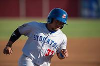 Stockton Ports third baseman Melvin Mercedes (37) rounds third base during a California League game against the Visalia Rawhide at Visalia Recreation Ballpark on May 8, 2018 in Visalia, California. Stockton defeated Visalia 6-2. (Zachary Lucy/Four Seam Images)