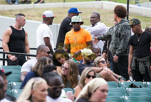 MIAMI, FL - APRIL 22: Boxing Champion Floyd Mayweather watches performers during The 1st Annual Kaya Fest at Bayfront Park Amphitheater in Miami. April 22, 2017. <br /> CAP/MPI/AG<br /> ©AG/MPI/Capital Pictures