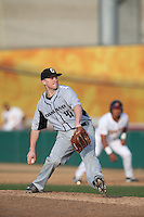 Alex Mason (41) of the Oakland Grizzlies pitches during a game against the Southern California Trojans at Dedeaux Field on February 21, 2015 in Los Angeles, California. Southern California defeated Oakland, 11-1. (Larry Goren/Four Seam Images)