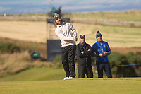 1st October 2021; Kingsbarns Golf Links, Fife, Scotland; European Tour, Alfred Dunhill Links Championship, Second round; Tommy Fleetwood of England chips to the fourth green at Kingsbarns Golf Links