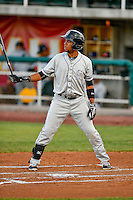 Luis Brito (16) of the Grand Junction Rockies at bat against the Orem Owlz in Pioneer League action at Home of the Owlz on July 6, 2016 in Orem, Utah. The Rockies defeated the Owlz 5-4 in Game 2 of the double header.  (Stephen Smith/Four Seam Images)