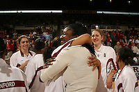 25 February 2006: Morgan Clyburn, Shelley Nweke, and Kristen Newlin during Stanford's 78-47 win over the Washington State Cougars at Maples Pavilion in Stanford, CA.