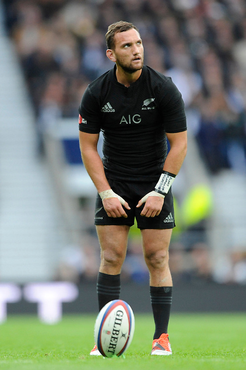 Aaron Cruden of New Zealand takes a penalty kick during the QBE International match between England and New Zealand at Twickenham Stadium on Saturday 8th November 2014 (Photo by Rob Munro)