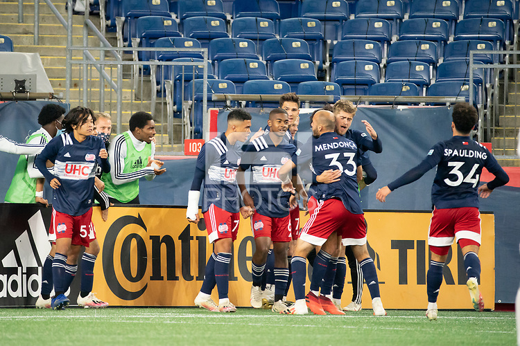 FOXBOROUGH, MA - OCTOBER 09: Justin Rennicks #12 of New England Revolution II celebrates his goal with his teammates during a game between Fort Lauderdale CF and New England Revolution II at Gillette Stadium on October 09, 2020 in Foxborough, Massachusetts.