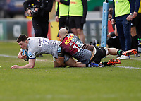 20th February 2021; Twickenham Stoop, London, England; English Premiership Rugby, Harlequins versus Sale Sharks; Raffi Quirke of Sale Sharks is tackled by Aaron Morris of Harlequins