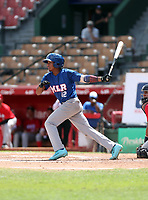 Alexeis Azuaje participates in the MLB International Showcase at Estadio Quisqeya on February 22-23, 2017 in Santo Domingo, Dominican Republic.
