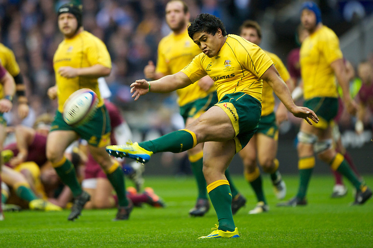Ben Tapuai of Australia clears the line during the Cook Cup between England and Australia, part of the QBE International series, at Twickenham on Saturday 17th November 2012 (Photo by Rob Munro)