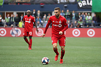 SEATTLE, WA - NOVEMBER 10: Nicolas Benezet #7 of Toronto FC brings the ball up the field during a game between Toronto FC and Seattle Sounders FC at CenturyLink Field on November 10, 2019 in Seattle, Washington.