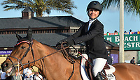 WELLINGTON, FL - MARCH 01: (EXCLUSIVE COVERAGE)  Former New York City Mayor Michael Bloomberg's daughter Georgina Bloomberg finishes a disappointing 32nd as she participants in the $150,000 Lugano Diamonds Grand Prix with her horse Lilli at the Winter Equestrian Festival at Palm Beach International Equestrian Center on March 1, 2015 in Wellington, Florida<br /> <br /> People:  Georgina Bloomberg