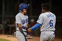 AZL Dodgers Lasorda Julio Carrion (49) is congratulated by Yunior Garcia (6) after scoring a run during an Arizona League game against the AZL White Sox at Camelback Ranch on June 18, 2019 in Glendale, Arizona. AZL Dodgers Lasorda defeated AZL White Sox 7-3. (Zachary Lucy/Four Seam Images)