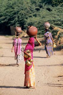 India, Rajasthan, near Udaipur: Local women carrying baskets on heads   Indien, Rajasthan, bei Udaipur: junge Frauen tragen Wasserkruege auf den Kopf