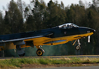 Historic Hawker Hunter jet during a display at Rygge Airshow. Norway