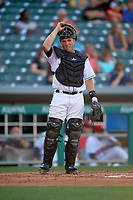 Indianapolis Indians catcher Jackson Williams (31) during a game against the Rochester Red Wings on July 24, 2018 at Victory Field in Indianapolis, Indiana.  Rochester defeated Indianapolis 2-0.  (Mike Janes/Four Seam Images)