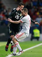 Spain's Jordi Alba (r) and Argentina's Fabricio Bustos during international friendly match. March 27,2018.(ALTERPHOTOS/Acero) /NortePhoto.com NORTEPHOTOMEXICO