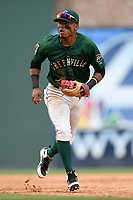 Second baseman Kervin Suarez (36) of the Greenville Drive plays defense in a game against the Asheville Tourists on Sunday, June 3, 2018, at Fluor Field at the West End in Greenville, South Carolina. Greenville won, 7-6. (Tom Priddy/Four Seam Images)