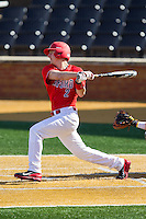 Chris Coia (2) of the Radford Highlanders follows through on his swing against the Missouri Tigers at Wake Forest Baseball Park on February 21, 2014 in Winston-Salem, North Carolina.  The Tigers defeated the Highlanders 15-3.  (Brian Westerholt/Four Seam Images)