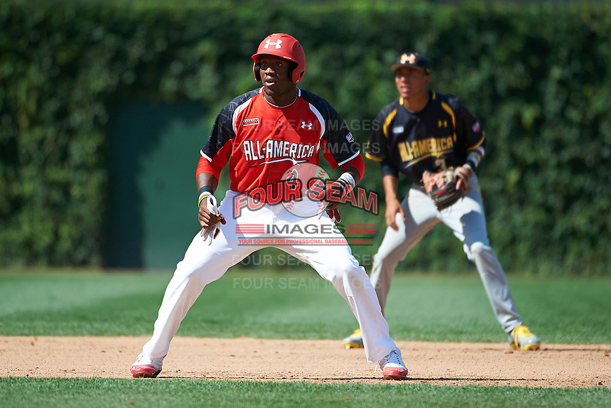Outfielder Justin Williams #4 of Terrebonne High School in Houma, Louisiana leads off second in front of shortstop J.P. Crawford #3 in the Under Armour All-American Game powered by Baseball Factory at Wrigley Field on August 18, 2012 in Chicago, Illinois.  (Mike Janes/Four Seam Images)