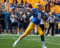 Pitt quarterback Kenny Pickett. The Pitt Panthers defeated the Syracuse Orange 44-37 in overtime at Heinz Field in Pittsburgh, Pennsylvania on October 6, 2018.