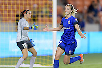 Houston, TX - Sunday Sept. 25, 2016: Lydia Williams, Beverly Yanez celebrates scoring during a regular season National Women's Soccer League (NWSL) match between the Houston Dash and the Seattle Reign FC at BBVA Compass Stadium.