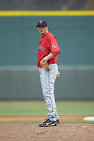 Salem Red Sox starting pitcher Jake Thompson (41) looks to his catcher for the sign against the Winston-Salem Dash at BB&T Ballpark on April 22, 2018 in Winston-Salem, North Carolina.  The Red Sox defeated the Dash 6-4 in 10 innings.  (Brian Westerholt/Four Seam Images)